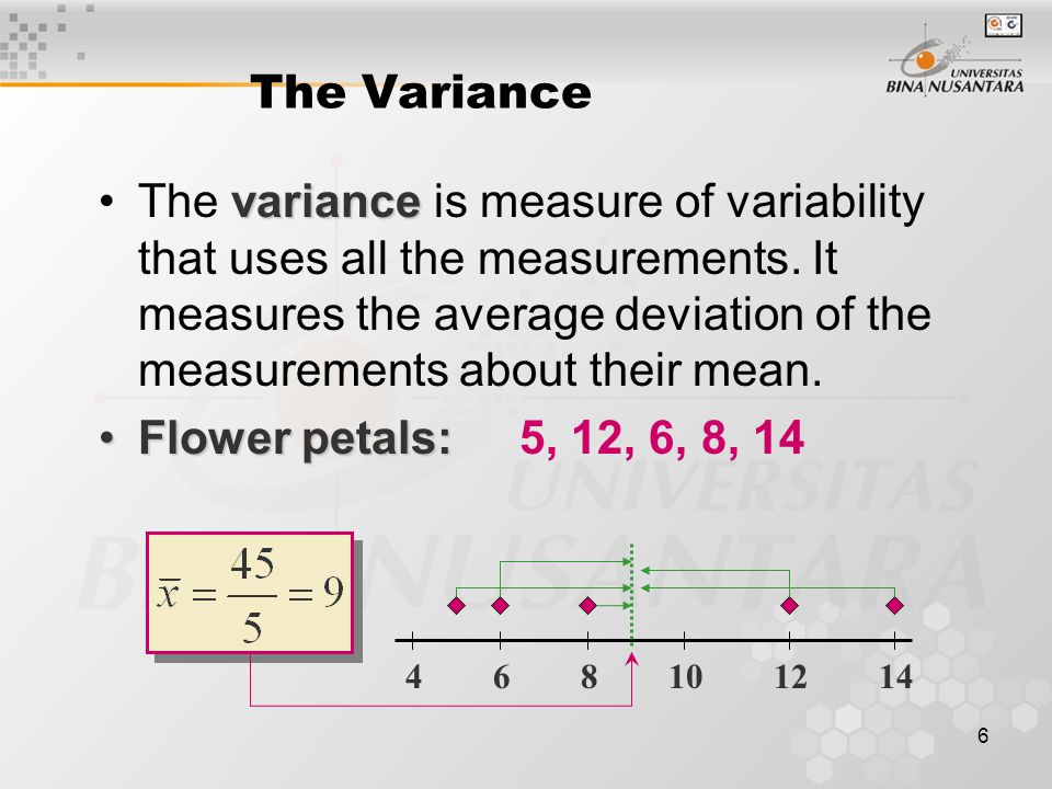 7 variance of a populationThe variance of a population of N measurements is the average of the squared deviations of the measurements about their mean  The Variance variance of a sampleThe variance of a sample of n measurements is the sum of the squared deviations of the measurements about their mean, divided by (n – 1) 