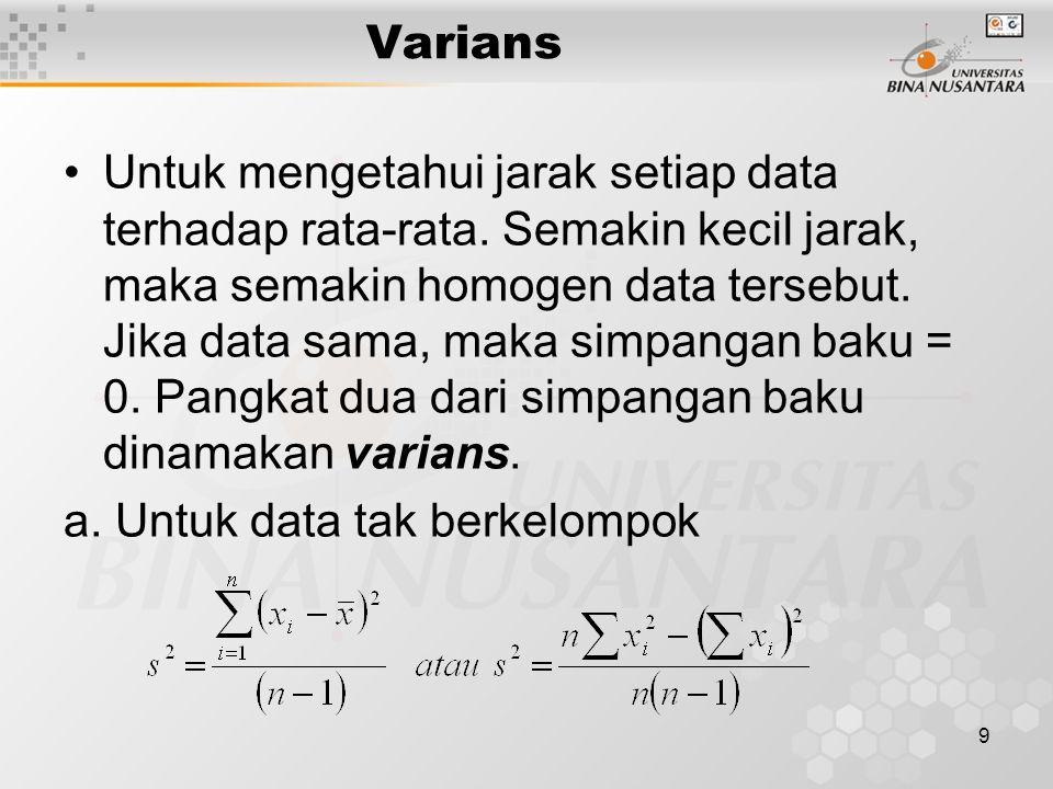 b. Untuk data berkelompok : 10