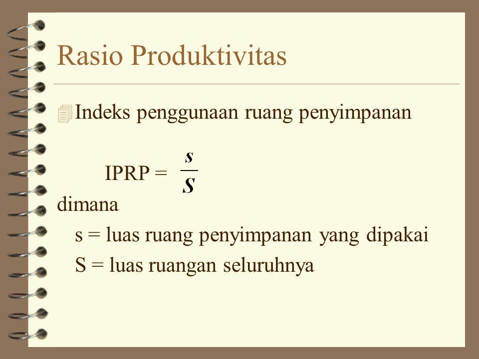 4 Indeks Pergerakan Operasi (IPO) IPO = dimana: m = jumlah gerakan perpindahan material M = jumlah operasi produktif Rasio Produktivitas