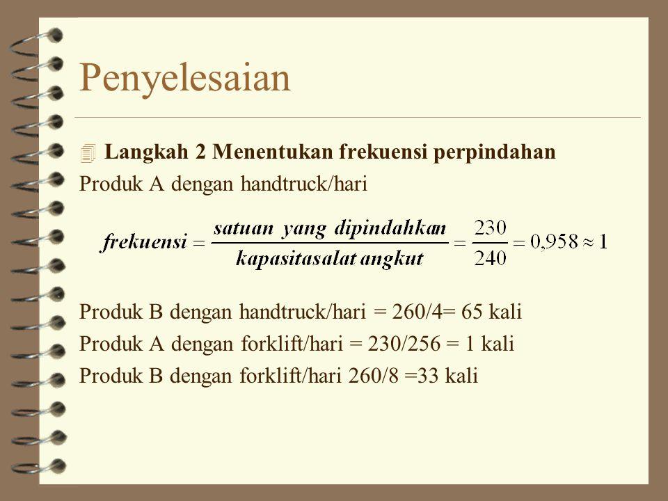 4 Langkah 3 Menentukan biaya pemindahan Handtruck : [(frekuensi produk A x biaya load/unload)+(OMH/m x jarak perpindahan produk A )] + [(frekuensi produk B x biaya load/unload)+(OMH/m x jarak perpindahan produk B )] = [(1 x Rp.50000)+(Rp.1500 x 150m)] + [(65 x Rp.50000)+(Rp.1500/m x 75m)] = Rp.