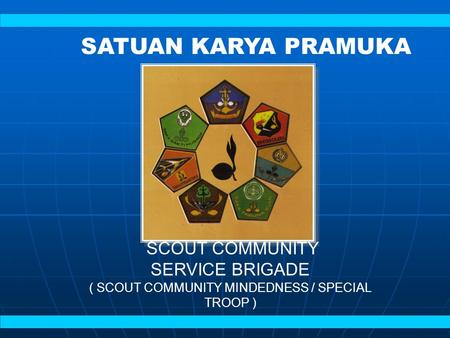 SCOUT COMMUNITY SERVICE BRIGADE ( SCOUT COMMUNITY MINDEDNESS / SPECIAL TROOP ) SATUAN KARYA PRAMUKA.
