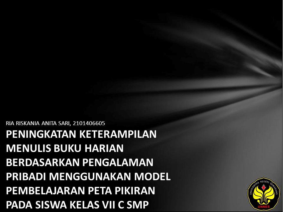 Identitas Mahasiswa - NAMA : RIA RISKANIA ANITA SARI - NIM : 2101406605 - PRODI : Pendidikan Bahasa, Sastra Indonesia, dan Daerah (Pendidikan Bahasa dan Sastra Indonesia) - JURUSAN : Bahasa & Sastra Indonesia - FAKULTAS : Bahasa dan Seni - EMAIL : ria_riskania pada domain plasa.com - PEMBIMBING 1 : Dr.Subyantoro,M.Hum.