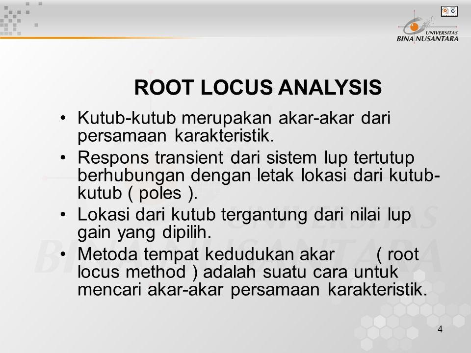 5 Pada metoda tempat kedudukan akar ( TKA ), akar-akar persamaan karakteristik digambarkan sebagai fungsi dari gain fungsi alih lup terbuka.