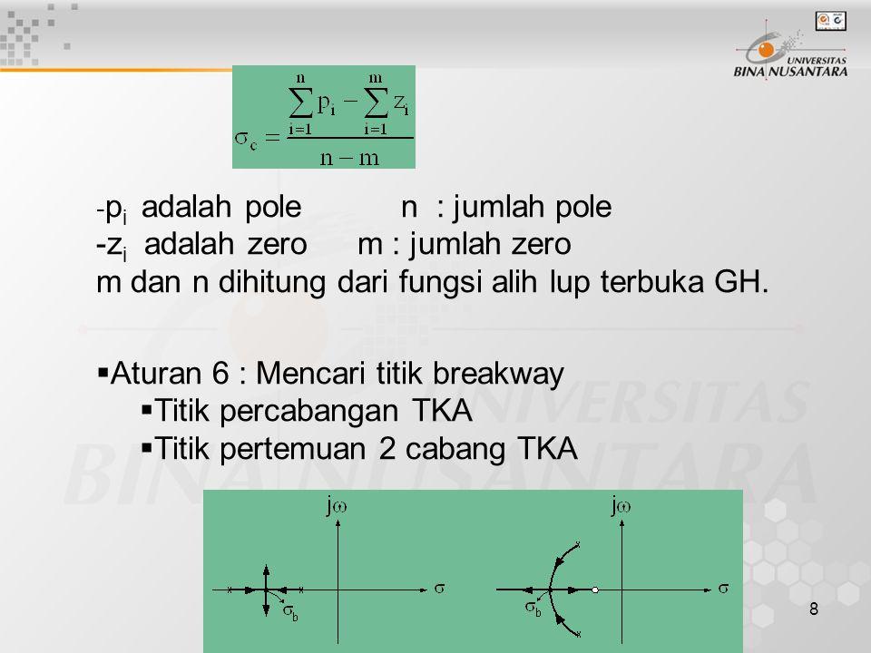 9  Aturan 7 :  Pole kompleks Sudut berangkat  Zero kompleks Sudut datang  Aturan 8 : Titik potong sumbu imajiner  Batas kestabilan  Harga penguatan maksimum sistem tetap stabil  Dicari dengan tabel Routh  Persamaan Auxialiary