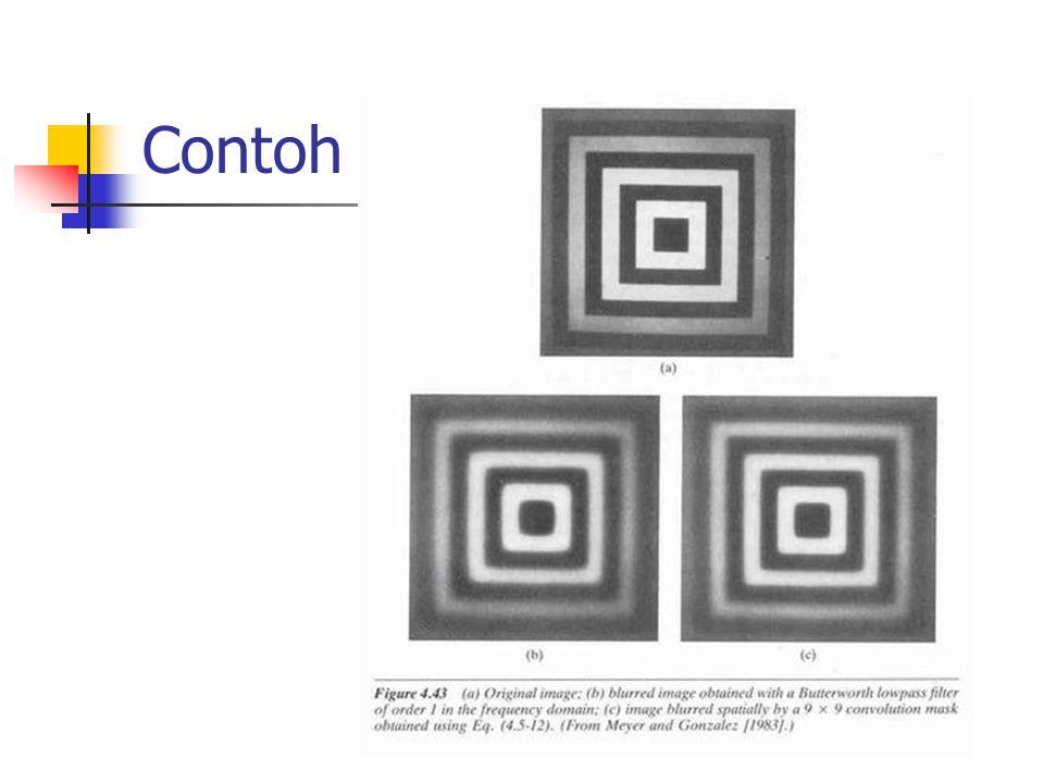 14 Transformasi Fourier dan Image Enhancement (1) Contoh citra masukan dengan gangguan berbentuk garis-garis:  Citra hasil transformasi Fourier: