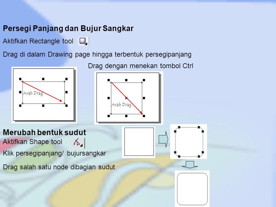 Arah Drag Ellipse dan Lingkaran Drag di dalam Drawing page hingga terbentuk Ellipse Aktifkan Ellipse tool Drag dengan menekan tombol Ctrl obyek lingkaran kita juga bisa membuat lingkaran yang diiris Aktifkan tombol pie Aktifkan Tombol Arc Arah drag