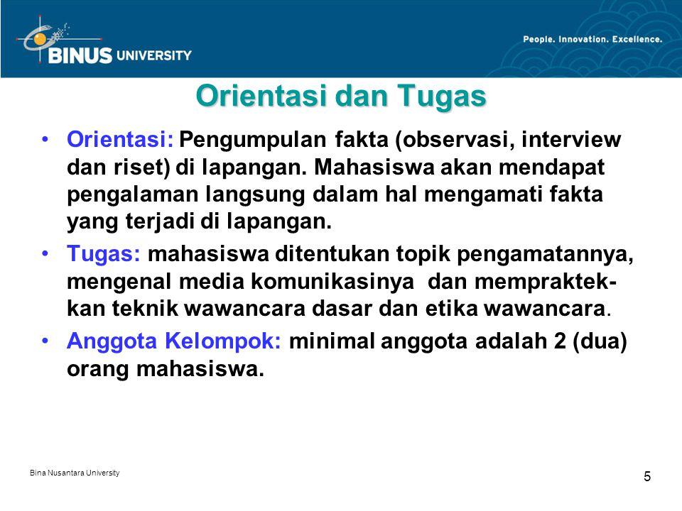 Bina Nusantara University 6 Kemampuan Mengoperasikan Peralatan Wawancara 1.Menjelaskan pengertian equipment interview: audio amplifier, audio recorder, laptop dan LCD projector.