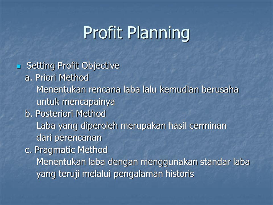 Long-range Profit Planning Karakteristik : a.