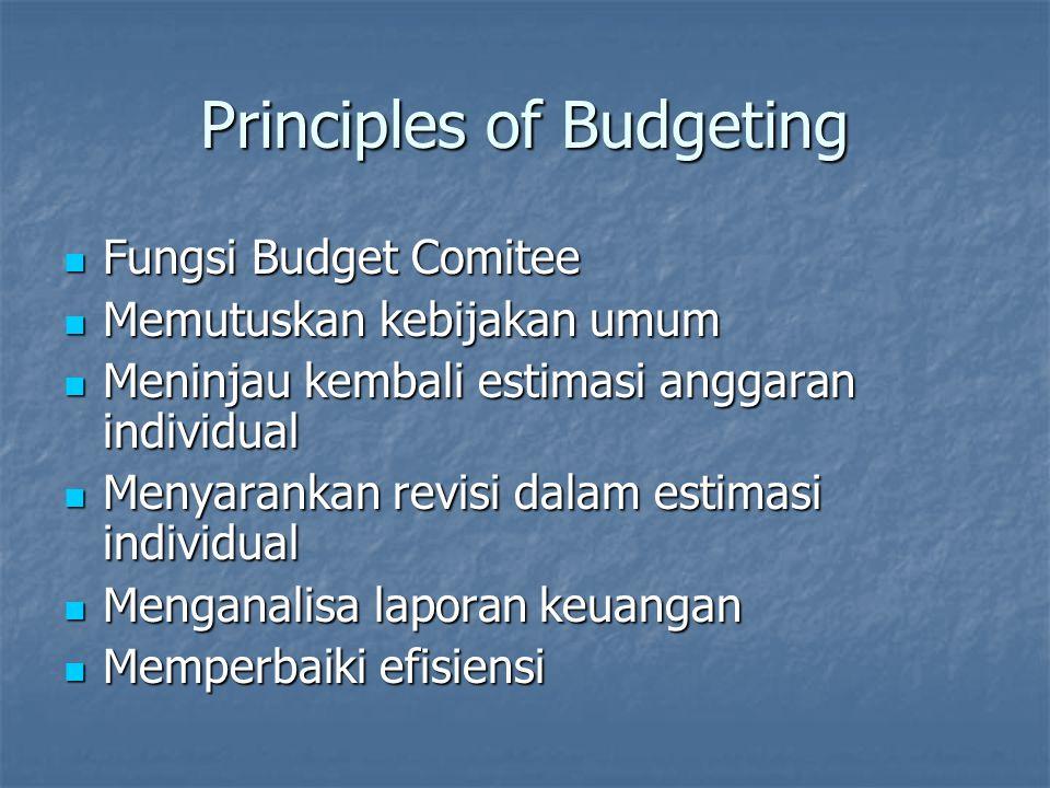 Budget Development & Implementation Semua tingkatan manajemen harus tahu posisi masing-masing untuk pengembangan anggaran sesuai dengan tanggungjawabnya.