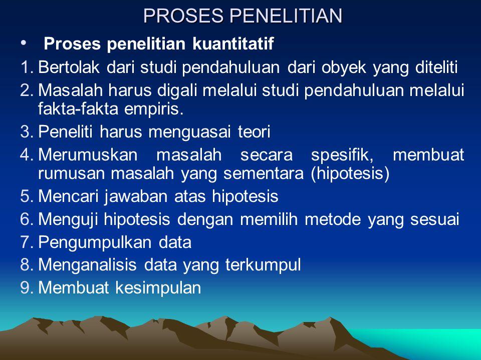 PROSES PENELITIAN Proses penelitian kualitatif 1.Menemukan masalah 2.Tahap orientasi atau deskripsi dengan grand tour question.