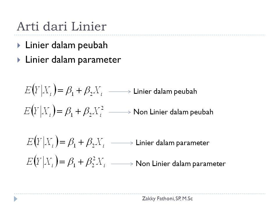 Arti dari Linier Zakky Fathoni, SP, M.Sc  Di dalam analisis regresi sederhana, LINIER berarti linier dalam PARAMETER  Parameter berpangkat paling tinggi 1  Diperbolehkan pangkat lebih dari satu untuk peubah Linier dalam peubah maupun parameter Keduanya Linier dalam paramater: Model Regresi Linier Sederhana