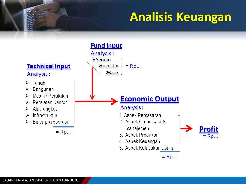 Analisis Keuangan Jumlah Investasi Jumlah Investasi IRR BEP Untuk mengetahui berapa bunga pinjaman maksimum Untuk mengetahui berapa lama pinjaman dapat dikembalikan Apakah Investasi Layak..?