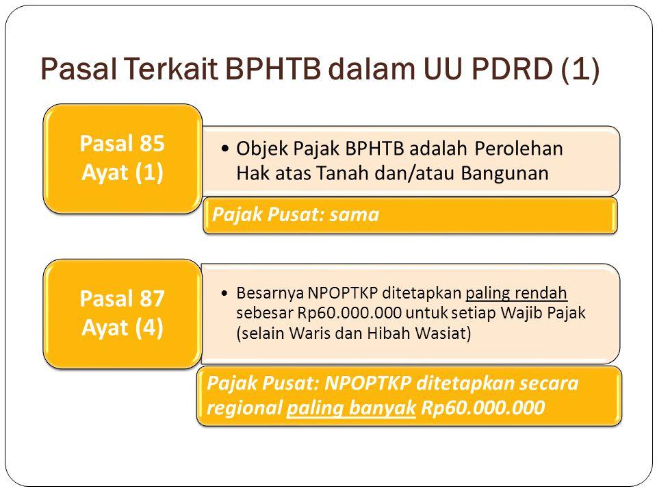 Pasal Terkait BPHTB dalam UU PDRD (2) Dalam hal perolehan hak karena waris atau hibah Wasiat yang diterima orang pribadi yang masih dalam hubungan keluarga sedarah dalam garis keturunan lurus satu derajat ke atas atau satu derajat ke bawah dengan pemberi hibah wasiat, termasuk suami/istri, NPOPTKP ditetapkan paling rendah sebesar Rp300.000.000 Pasal 87 Ayat (5) Pajak Pusat: NPOPTKP untuk peralihan hak tersebut ditetapkan paling banyak Rp300.000.000 Tarif BPHTB ditetapkan paling tinggi sebesar 5% dan ditetapkan dengan Peraturan Daerah Pasal 88 Ayat (1) jo Ayat (2) Pajak Pusat: tarif tunggal sebesar 5%