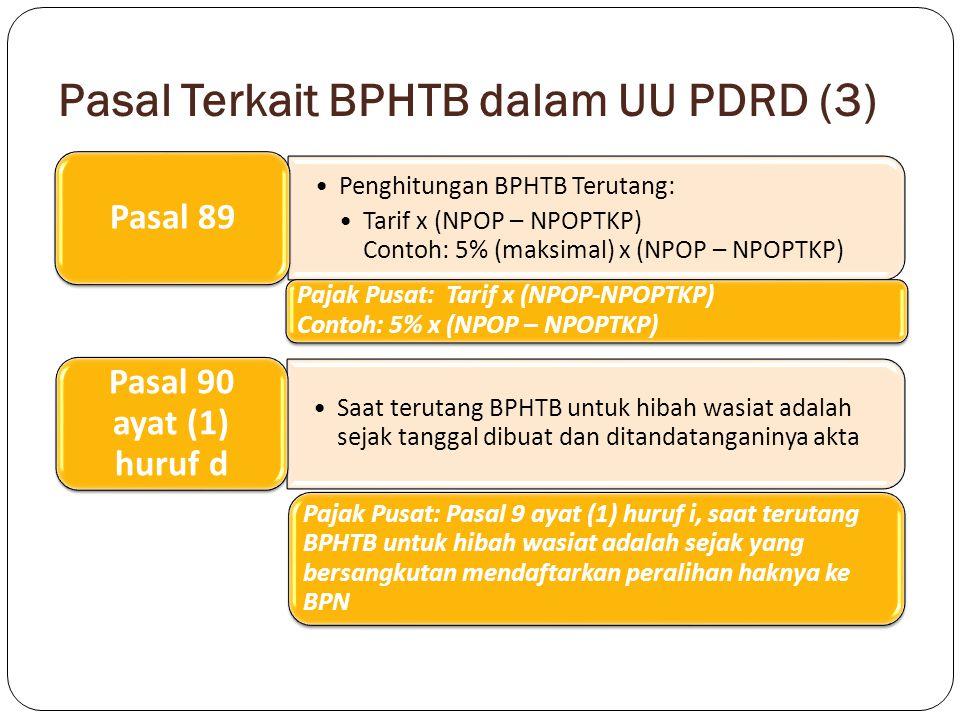 Pasal Terkait BPHTB dalam UU PDRD (4) Peraturan Daerah tentang pajak dapat juga mengatur ketentuan mengenai pemberian pengurangan, keringanan dan pembebasan dalam hal–hal tertentu atas pokok pajak dan/atau sanksinya Pasal 95 ayat (4) huruf a Pajak Pusat: pengurangan Pasal 20 UU BPHTB dan Pasal 36 ayat (1) huruf a, huruf b, huruf c UU KUP Keberatan dapat diajukan apabila Wajib Pajak telah membayar paling sedikit sejumlah yang telah disetujui Wajib Pajak Pasal 103 ayat (4) Pajak Pusat: Pasal 16 ayat (7) UU BPHTB, pengajuan keberatan tidak menunda kewajiban membayar pajak dan pelaksanaan penagihan pajak
