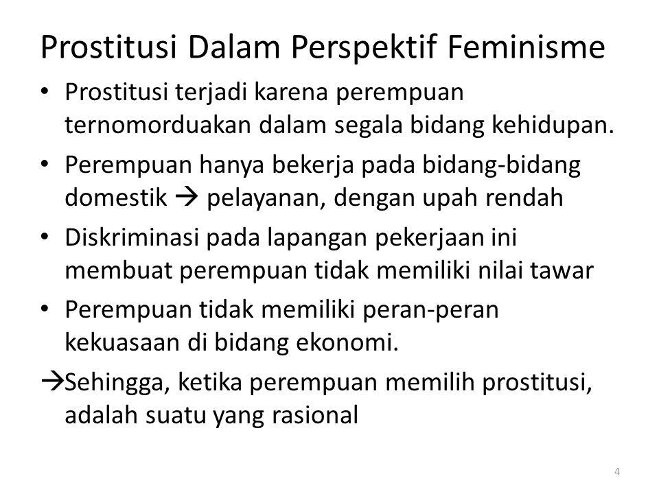Prostitusi Dalam Perspektif Feminisme Untuk mengatasinya: Diperlukan perbaikan hukum sehingga dapat melindungi anak dan perempuan dari eksploitasi seks Diberikan hukuman yang berat kepada pelaku bisnis seks (mucikari) Menghapus diskriminasi formal  ketidakadilan dalam praktek-praktek hukum Adanya diskriminasi informal, padahal mucikari dan konsumen juga sebenarnya amoral 5