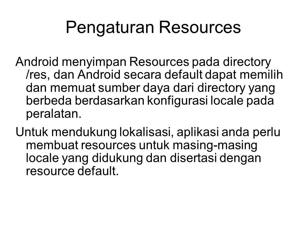 Contoh Resources File resource KeteranganIsi file /res/values-en-rUS/strings.xmlResource untuk language English Region US Halo dunia, PersegiActivity.
