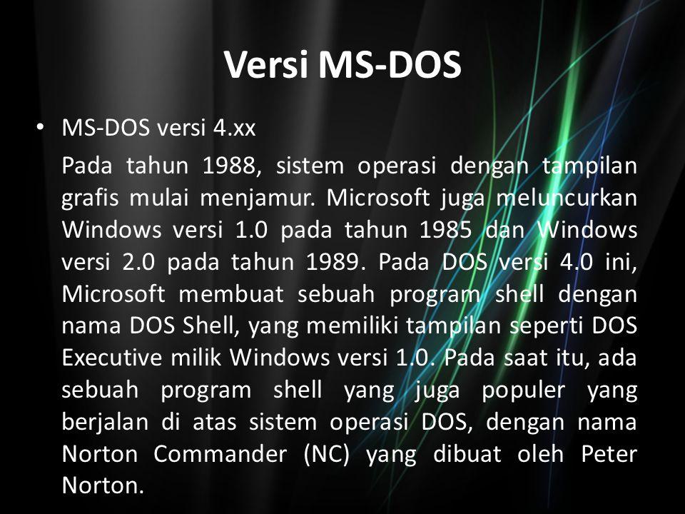 Versi MS-DOS MS-DOS versi 5.xx IBM memang sudah tidak membuat gebrakan- gebrakan baru dalam industri mikrokomputer, karena pasar yang sebelumnya dikuasai IBM ini telah dimakan sedikit demi sedikit oleh para kompetitornya, seperti Compaq, Hewlett-Packard, dan juga Dell yang juga memproduksi mikrokomputer yang kompatibel dengan komputer IBM, karena menggunakan desain yang sama, dan juga mikroprosesor yang sama yang dibuat oleh Intel Corporation.