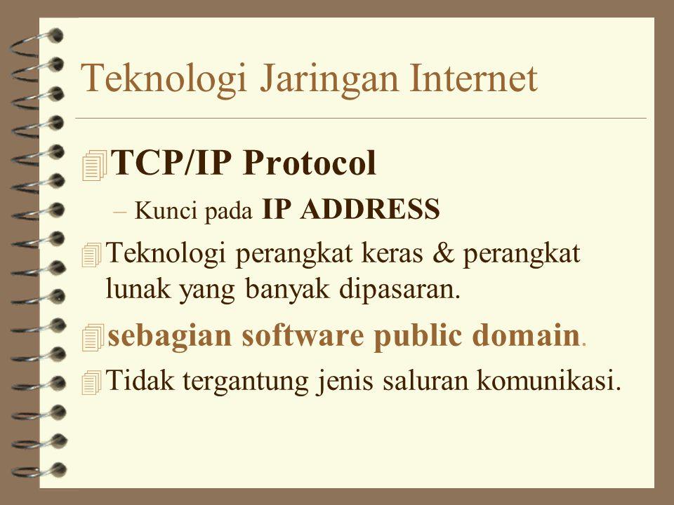 Teknologi Jaringan Internet 4 TCP/IP Protocol –Kunci pada IP ADDRESS 4 Teknologi perangkat keras & perangkat lunak yang banyak dipasaran.