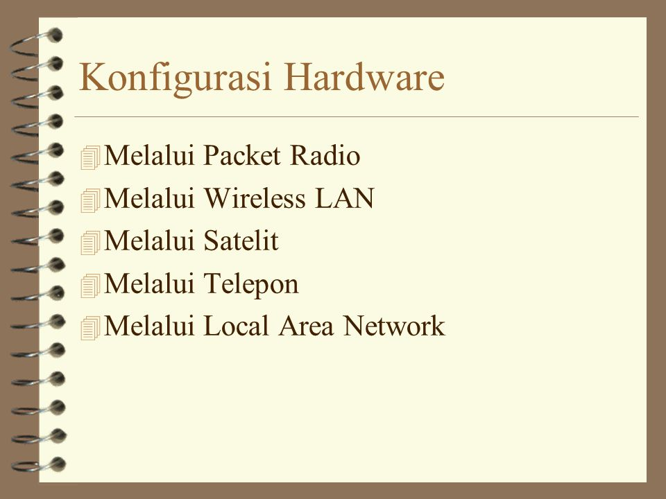 Konfigurasi Hardware 4 Melalui Packet Radio 4 Melalui Wireless LAN 4 Melalui Satelit 4 Melalui Telepon 4 Melalui Local Area Network
