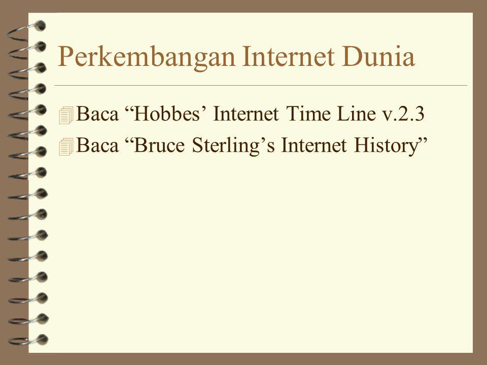 Perkembangan Internet Dunia 4 Baca Hobbes' Internet Time Line v.2.3 4 Baca Bruce Sterling's Internet History