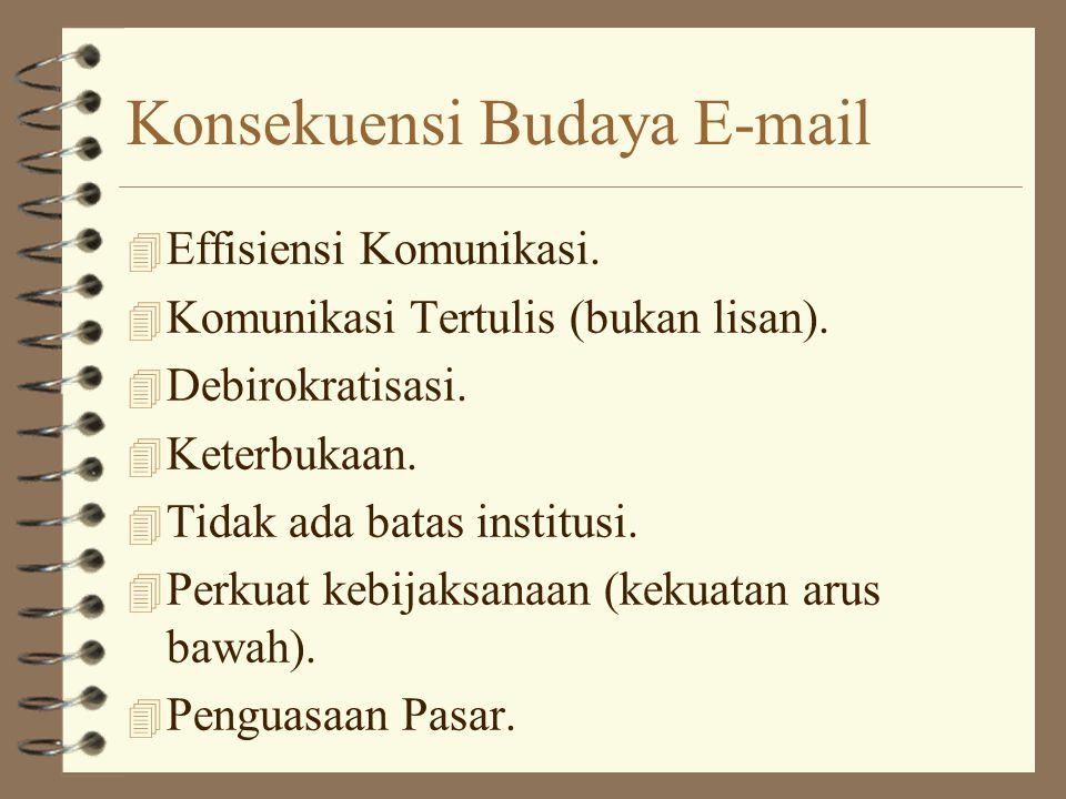 Konsekuensi Budaya E-mail 4 Effisiensi Komunikasi.