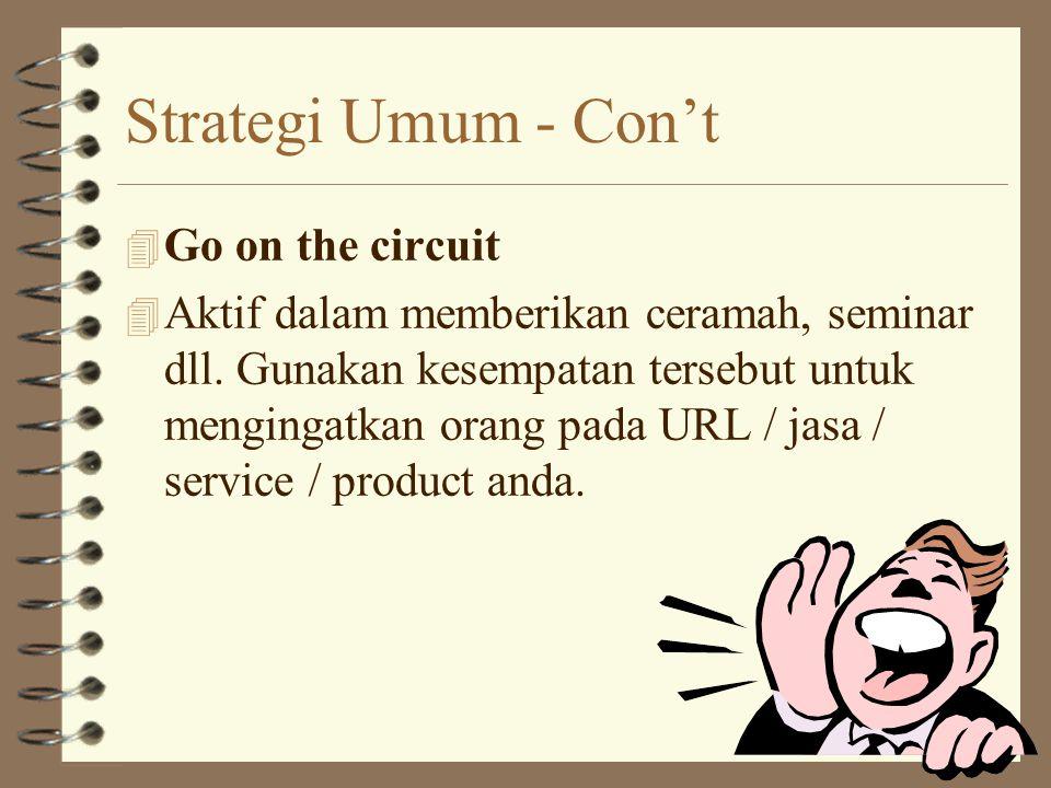 Strategi Umum - Con't 4 Go on the circuit 4 Aktif dalam memberikan ceramah, seminar dll.