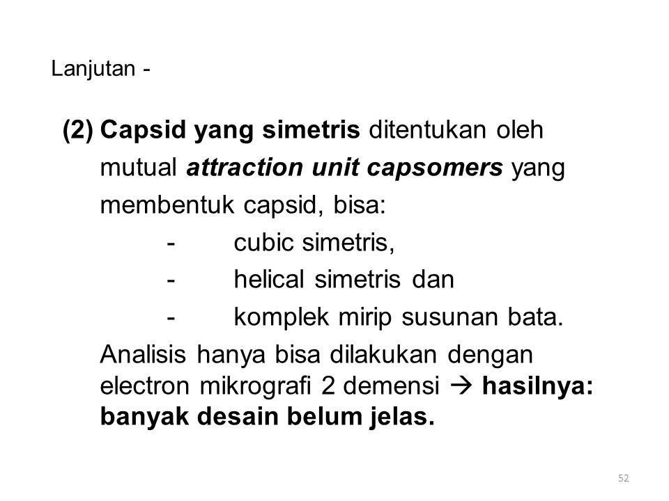 Lanjutan - (3)Sampul pembungkus; nuclei-capsid terselubung membrane yang terdiri dari lipid, protein dan C-H.