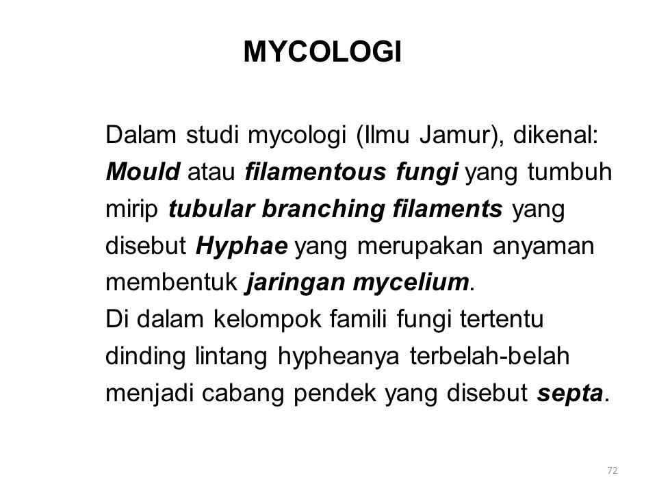 Lanjutan- 1 Mycology Ragi, genus candida (penyebab sariawan, mempunyai pseudohyphae) Sebagian fungi dimorphic bersifat pathogen bagi manusia, berbentuk seperti yeast saat menyerang jaringan, berbentuk sebagai mycelium saat hidup sebagai saphrophyte dalam tanah atau media kultur.