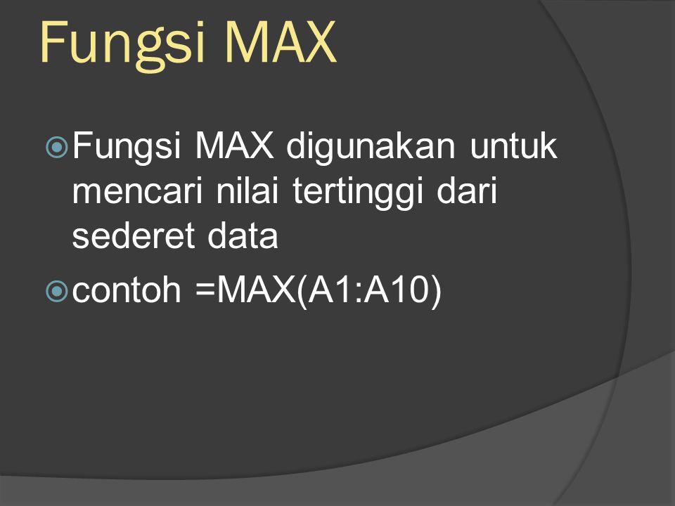 Fungsi MIN  Fungsi MIN digunakan untuk mencari nilai terendah dari sederet angka  contoh =MIN(A1:A10)