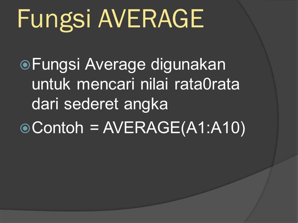Fungsi MAX  Fungsi MAX digunakan untuk mencari nilai tertinggi dari sederet data  contoh =MAX(A1:A10)