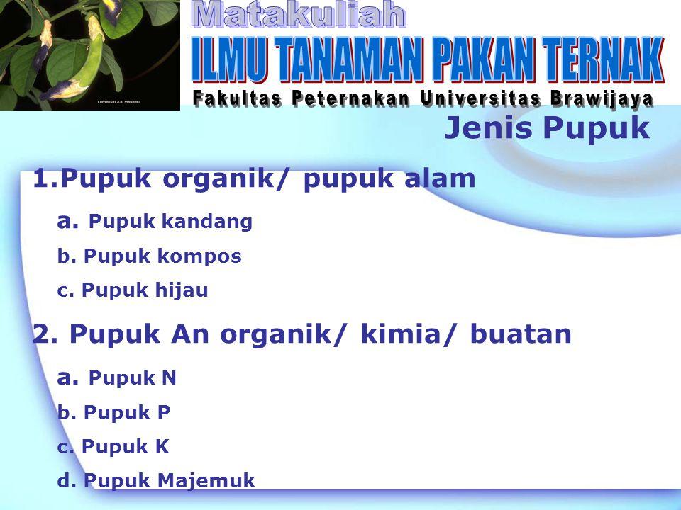 Jenis Pupuk 1.Pupuk organik/ pupuk alam : mengandung unsur hara lengkap, tetapi jumlahnya sedikit a.