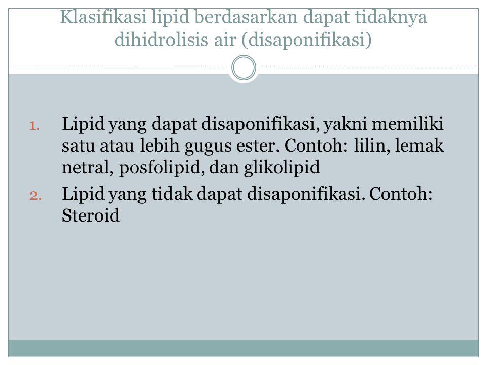 Klasifikasi lipid berdasarkan ada tidaknya senyawa lain yang bergabung: 1.