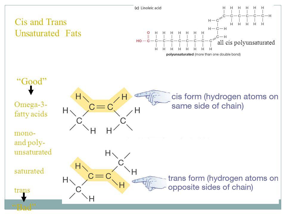 Asam lemak Dengan adanya ikatan alkena, asam lemak dapat bereaksi dengan bromin dan dapat mengikat hidrogen.