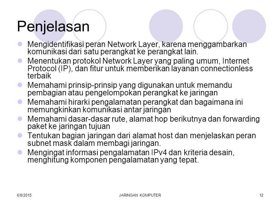 6/8/2015JARINGAN KOMPUTER13 Network Layer Protocols and Internet Protocol (IP) Menentukan peran dasar dari Network Layer dalam jaringan data