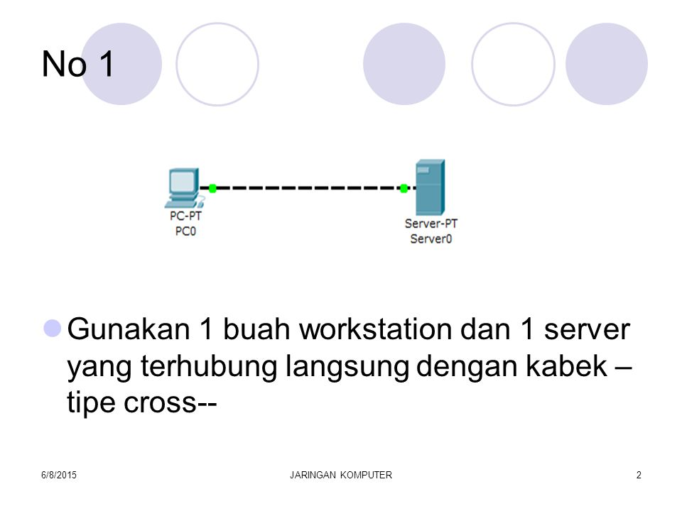 No 1 Lakukan konfigurasi IP address pada PC0 Lakukan konfigurasi IP address pada Server0.