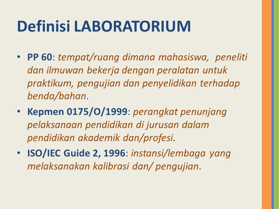 LABORATORIUM merupakan ….tempat melakukan kegiatan percobaan/penelitian.