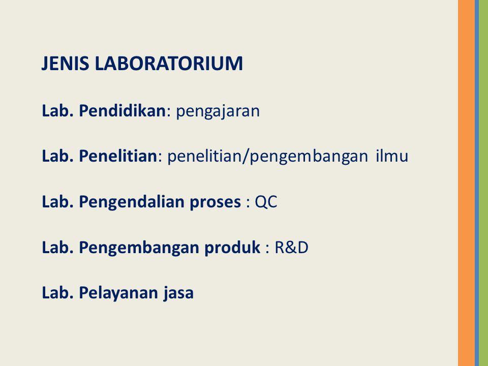 Laboratorium – Kering (Dry Laboratory) – basah (Wet Laboratory) Laboratorium – Pendidikan – Penelitian – Layanan Masyarakat