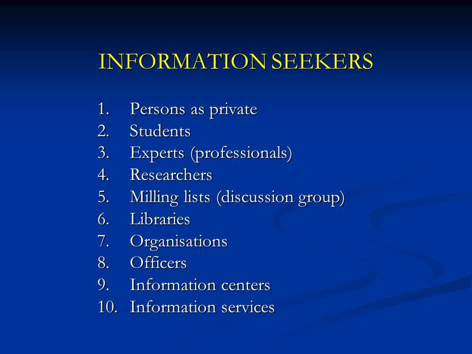 INFORMATION SEEKERS harus: 1.Memahami sumber-sumber informasi 2.Memahami jenis informasi 3.Mengetahui kebutuhan informasi 4.Memiliki pengetahuan dan ketrampilan IRS (information retrieval system) 5.Memerlukan jalinan/jaringan kerjasama