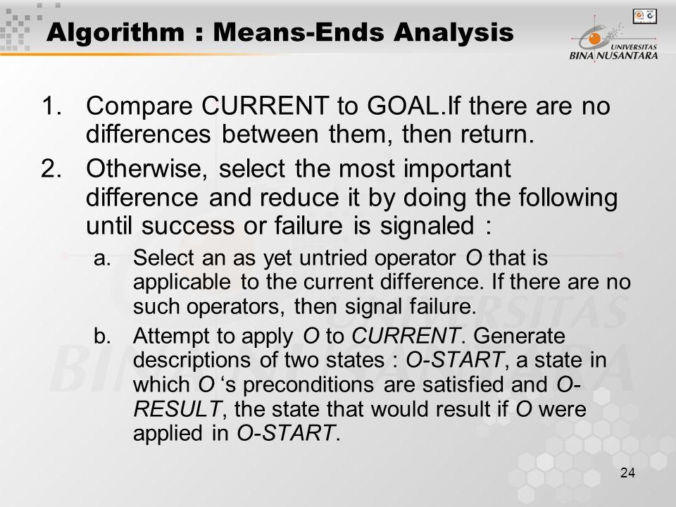 25 Algorithm : Means-Ends Analysis c.