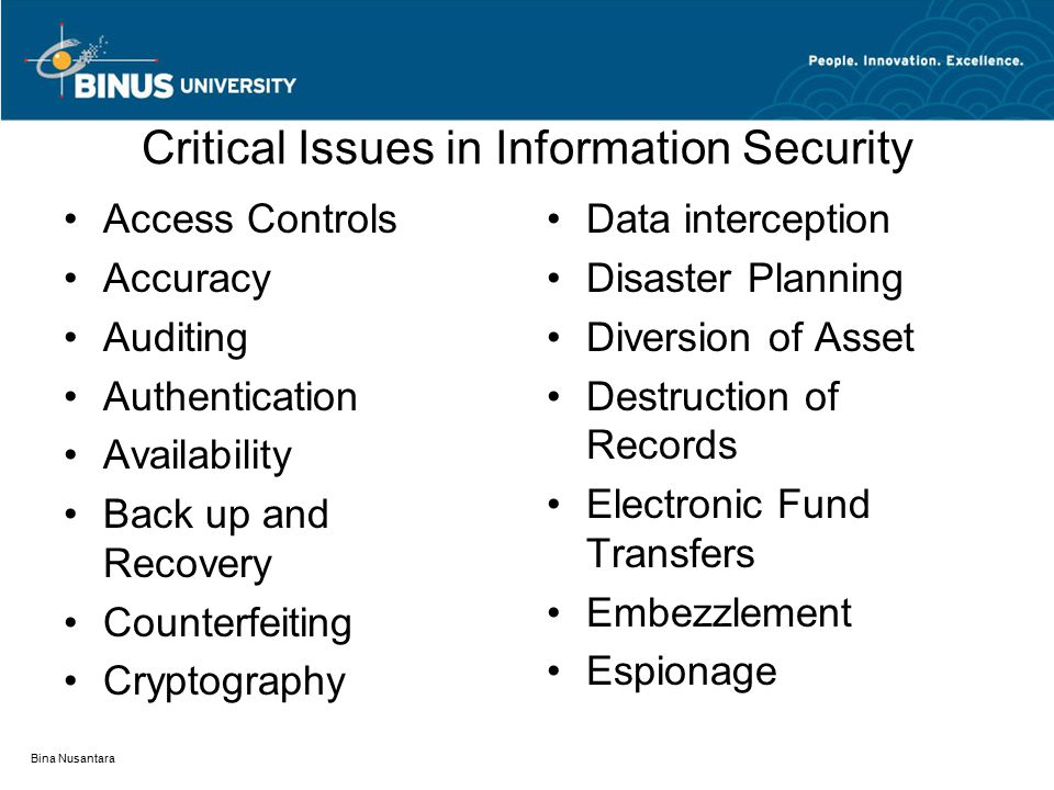 Critical Issues in Information Security (Con't) Ethics False Entries Fraudulent financial statements Hacking Impersonation Integrity Piracy Privacy Proprietary information theft Social Engineering Terrorism Theft of data, time, and supplies Timeliness of entries Toll Fraud Viruses Bina Nusantara