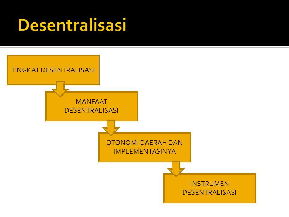  Dekonsentrasi : Bentuk Desentralisasi kurang ekstensi, hanya sekedar pergeseran beban kerja.