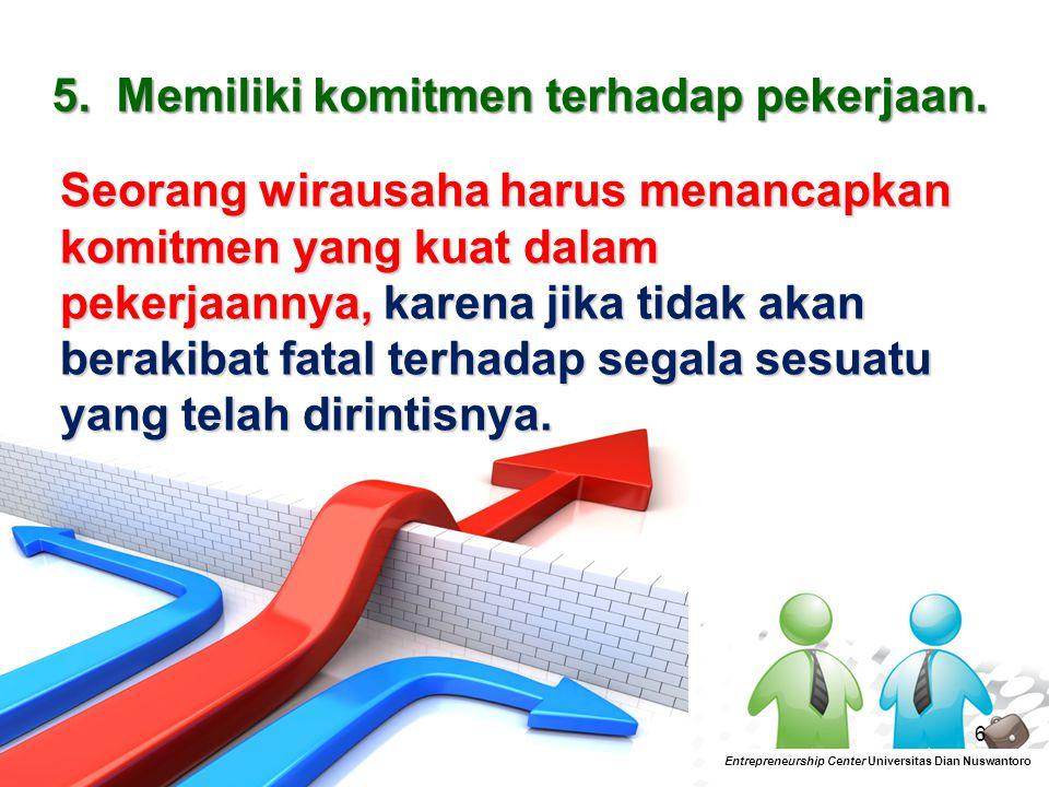 7 Entrepreneurship Center Universitas Dian Nuswantoro 6.Memiliki tanggung jawab.