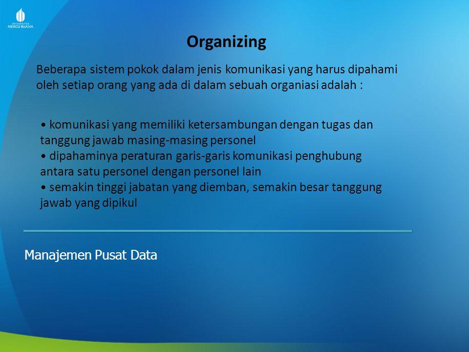Actuating Manajemen Pusat Data -Actuating lebih cenderung kepada man atau people.