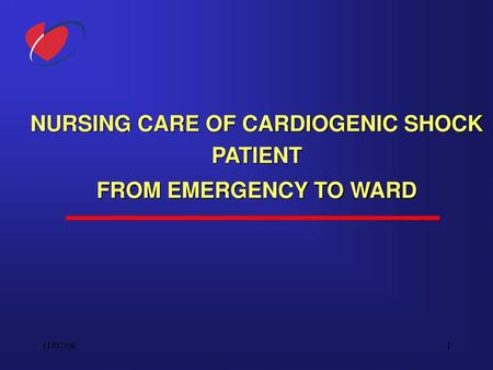 NURSING CARE OF CARDIOGENIC SHOCK