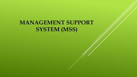 MANAGEMENT SUPPORT SYSTEM (MSS)