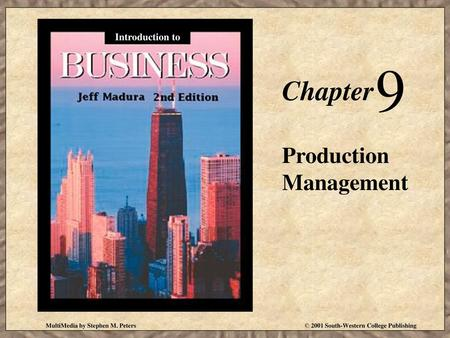 9 Chapter Production Management Introduction to