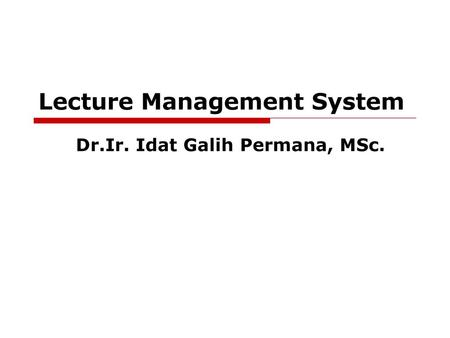 Lecture Management System
