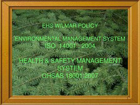EHS WILMAR POLICY - ENVIRONMENTAL MANAGEMENT SYSTEM ISO 14001 : 2004 - HEALTH & SAFETY MANAGEMENT SYSTEM OHSAS 18001:2007.