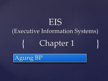 EIS (Executive Information Systems)