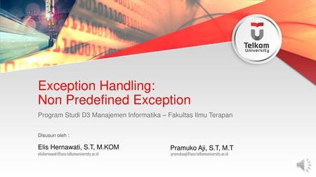 Exception Handling: Non Predefined Exception